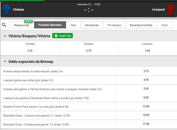 Odds de Chelsea x Liverpool na Betway